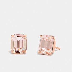 Coach pink rose gold stud earrings